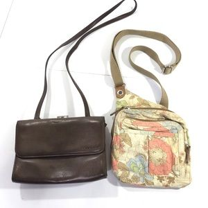 Fossils Small Purses Lot of 2 Leather and Fabric